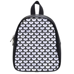 Scales3 Black Marble & White Marble (r) School Bag (small) by trendistuff