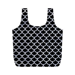Scales1 Black Marble & White Marble Full Print Recycle Bag (m) by trendistuff