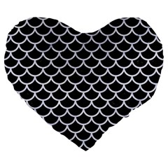 Scales1 Black Marble & White Marble Large 19  Premium Flano Heart Shape Cushion by trendistuff