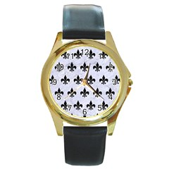 Royal1 Black Marble & White Marble Round Gold Metal Watch by trendistuff