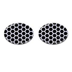 Hexagon2 Black Marble & White Marble Cufflinks (oval) by trendistuff
