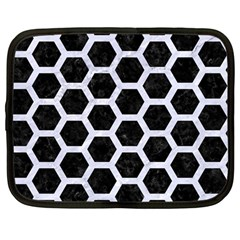 Hexagon2 Black Marble & White Marble Netbook Case (large) by trendistuff