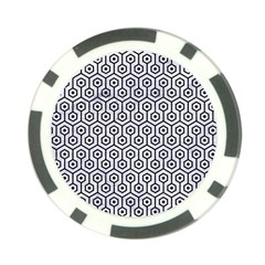 Hexagon1 Black Marble & White Marble (r) Poker Chip Card Guard by trendistuff