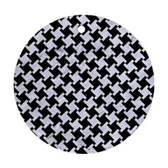 Houndstooth2 Black Marble & White Marble Round Ornament (two Sides) by trendistuff