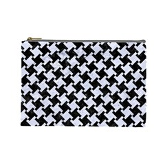 Houndstooth2 Black Marble & White Marble Cosmetic Bag (large) by trendistuff