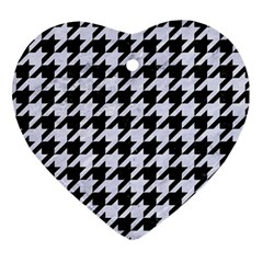 Houndstooth1 Black Marble & White Marble Heart Ornament (two Sides) by trendistuff