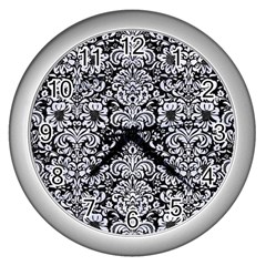 Damask2 Black Marble & White Marble Wall Clock (silver) by trendistuff