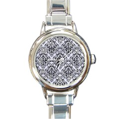 Damask1 Black Marble & White Marble (r) Round Italian Charm Watch by trendistuff