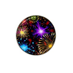 Celebration Fireworks In Red Blue Yellow And Green Color Hat Clip Ball Marker (4 Pack) by Onesevenart