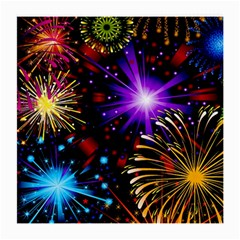Celebration Fireworks In Red Blue Yellow And Green Color Medium Glasses Cloth (2 Side) by Onesevenart
