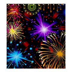 Celebration Fireworks In Red Blue Yellow And Green Color Shower Curtain 66  X 72  (large)  by Onesevenart