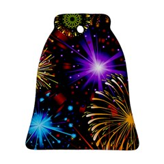 Celebration Fireworks In Red Blue Yellow And Green Color Bell Ornament (two Sides) by Onesevenart