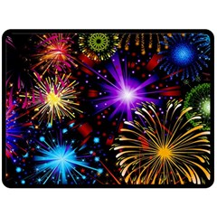 Celebration Fireworks In Red Blue Yellow And Green Color Double Sided Fleece Blanket (large)  by Onesevenart