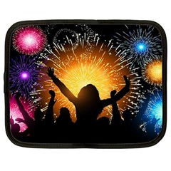 Celebration Night Sky With Fireworks In Various Colors Netbook Case (Large) by Onesevenart