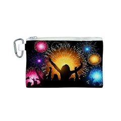Celebration Night Sky With Fireworks In Various Colors Canvas Cosmetic Bag (s) by Onesevenart