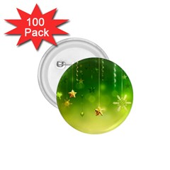 Christmas Green Background Stars Snowflakes Decorative Ornaments Pictures 1 75  Buttons (100 Pack)
