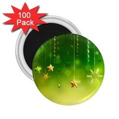 Christmas Green Background Stars Snowflakes Decorative Ornaments Pictures 2 25  Magnets (100 Pack)  by Onesevenart