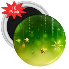 Christmas Green Background Stars Snowflakes Decorative Ornaments Pictures 3  Magnets (10 Pack)  by Onesevenart