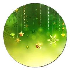 Christmas Green Background Stars Snowflakes Decorative Ornaments Pictures Magnet 5  (round) by Onesevenart