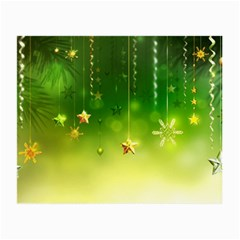 Christmas Green Background Stars Snowflakes Decorative Ornaments Pictures Small Glasses Cloth by Onesevenart