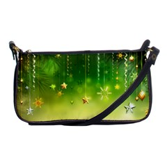 Christmas Green Background Stars Snowflakes Decorative Ornaments Pictures Shoulder Clutch Bags by Onesevenart