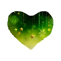 Christmas Green Background Stars Snowflakes Decorative Ornaments Pictures Standard 16  Premium Flano Heart Shape Cushions by Onesevenart