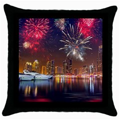 Christmas Night In Dubai Holidays City Skyscrapers At Night The Sky Fireworks Uae Throw Pillow Case (black) by Onesevenart