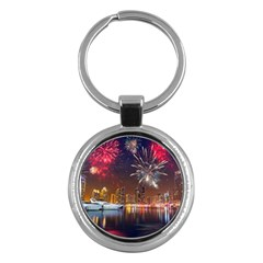 Christmas Night In Dubai Holidays City Skyscrapers At Night The Sky Fireworks Uae Key Chains (round)  by Onesevenart
