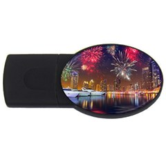 Christmas Night In Dubai Holidays City Skyscrapers At Night The Sky Fireworks Uae Usb Flash Drive Oval (4 Gb) by Onesevenart