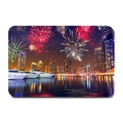 Christmas Night In Dubai Holidays City Skyscrapers At Night The Sky Fireworks Uae Plate Mats by Onesevenart