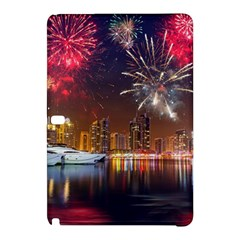 Christmas Night In Dubai Holidays City Skyscrapers At Night The Sky Fireworks Uae Samsung Galaxy Tab Pro 10 1 Hardshell Case by Onesevenart