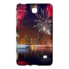 Christmas Night In Dubai Holidays City Skyscrapers At Night The Sky Fireworks Uae Samsung Galaxy Tab 4 (8 ) Hardshell Case  by Onesevenart