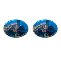 City Dubai Photograph From The Top Of Skyscrapers United Arab Emirates Cufflinks (oval) by Onesevenart