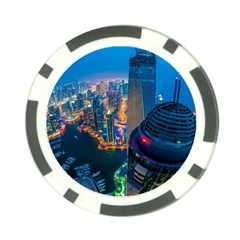 City Dubai Photograph From The Top Of Skyscrapers United Arab Emirates Poker Chip Card Guard by Onesevenart