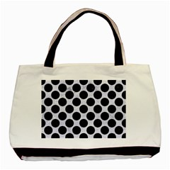 Circles2 Black Marble & White Marble (r) Basic Tote Bag (two Sides) by trendistuff
