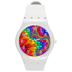Colorful Trippy Round Plastic Sport Watch (m) by Onesevenart