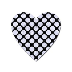 Circles2 Black Marble & White Marble Magnet (heart) by trendistuff