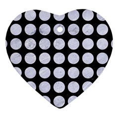 Circles1 Black Marble & White Marble Heart Ornament (two Sides) by trendistuff