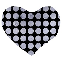Circles1 Black Marble & White Marble Large 19  Premium Flano Heart Shape Cushion by trendistuff