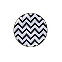 Chevron9 Black Marble & White Marble (r) Hat Clip Ball Marker (4 Pack) by trendistuff