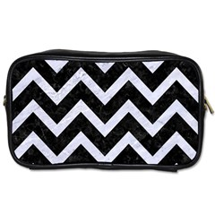 Chevron9 Black Marble & White Marble Toiletries Bag (one Side) by trendistuff