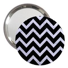 Chevron9 Black Marble & White Marble 3  Handbag Mirror by trendistuff