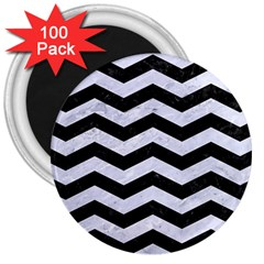 Chevron3 Black Marble & White Marble 3  Magnet (100 Pack) by trendistuff