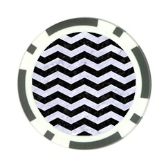 Chevron3 Black Marble & White Marble Poker Chip Card Guard by trendistuff