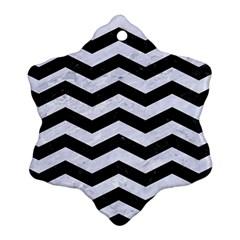Chevron3 Black Marble & White Marble Ornament (snowflake) by trendistuff