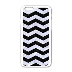 Chevron3 Black Marble & White Marble Apple Iphone 6/6s White Enamel Case by trendistuff