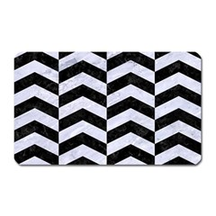 Chevron2 Black Marble & White Marble Magnet (rectangular) by trendistuff