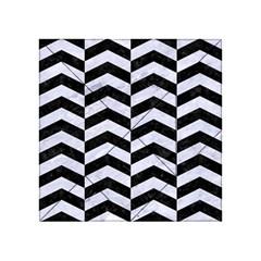Chevron2 Black Marble & White Marble Acrylic Tangram Puzzle (4  X 4 ) by trendistuff