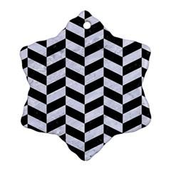Chevron1 Black Marble & White Marble Snowflake Ornament (two Sides) by trendistuff