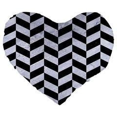 Chevron1 Black Marble & White Marble Large 19  Premium Flano Heart Shape Cushion by trendistuff